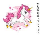 little pink magical unicorn....   Shutterstock .eps vector #1022310397