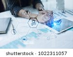 iot and automation concept as... | Shutterstock . vector #1022311057
