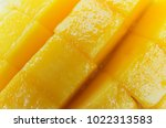 close up slice of fresh mango ... | Shutterstock . vector #1022313583