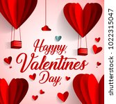happy valentines day typography ... | Shutterstock .eps vector #1022315047
