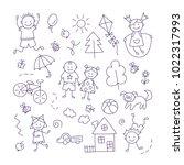 children in the village. set of ... | Shutterstock .eps vector #1022317993