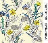 vintage seamless pattern garden ... | Shutterstock .eps vector #1022319583