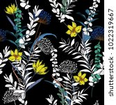 seamless pattern exotic flowers ... | Shutterstock .eps vector #1022319667