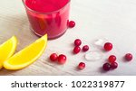 glass of red smoothie from... | Shutterstock . vector #1022319877