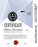 official certificate. luxury... | Shutterstock .eps vector #1022335867