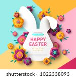 Stock vector easter card with bunny rabbit shape frame spring flowers on colorful modern geometric background 1022338093