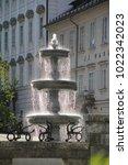 Small photo of Ljubljana, Slovenia - August 18, 2017: The fountain on the Novi Trg (New Market square) in Ljubljana
