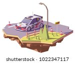vector low poly rally racing... | Shutterstock .eps vector #1022347117