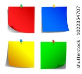 four colored sticky papers  ... | Shutterstock .eps vector #1022354707