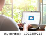man working at home got email...   Shutterstock . vector #1022359213