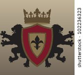 vector twin lion coat of arms ... | Shutterstock .eps vector #102236323