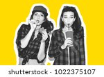 young hipster girls having fun... | Shutterstock . vector #1022375107