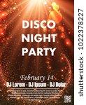 disco night party vector poster ... | Shutterstock .eps vector #1022378227