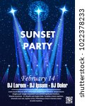 disco night party vector poster ... | Shutterstock .eps vector #1022378233
