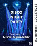 disco night party vector poster ... | Shutterstock .eps vector #1022378263