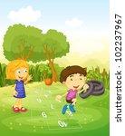 cartoon of children playing...   Shutterstock . vector #102237967