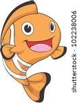 Happy Clownfish Cartoon - stock vector