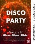disco night party vector poster ... | Shutterstock .eps vector #1022394217