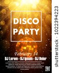 disco night party vector poster ... | Shutterstock .eps vector #1022394223