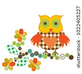 Cartoon Owl In Patchwork Style