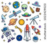 vintage 80s 90s space theme... | Shutterstock .eps vector #1022429023