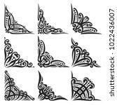 vector set of decorative black... | Shutterstock .eps vector #1022436007