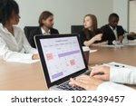 woman using digital organizer... | Shutterstock . vector #1022439457