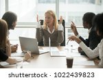 stressed angry businesswoman... | Shutterstock . vector #1022439823