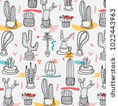 hand drawn tropical cactus... | Shutterstock .eps vector #1022443963