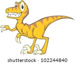 Happy Velociraptor Cartoon - stock vector