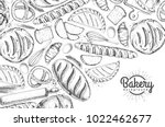 bakery background. top view of... | Shutterstock .eps vector #1022462677