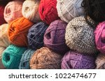 colorful balls of wool  close...   Shutterstock . vector #1022474677