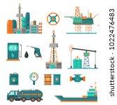 set of oil industry extraction... | Shutterstock .eps vector #1022476483