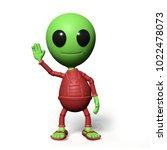 cute little alien cartoon... | Shutterstock . vector #1022478073