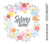 springtime card with hand drawn ... | Shutterstock .eps vector #1022482687