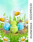 easter card. painted easter...   Shutterstock . vector #1022490133