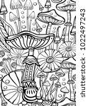 mushrooms coloring antistress... | Shutterstock .eps vector #1022497243