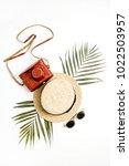 summer travel background. straw ... | Shutterstock . vector #1022503957