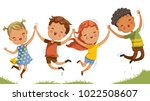 boys and girls are playing... | Shutterstock .eps vector #1022508607