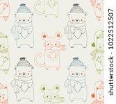 forest animal seamless pattern... | Shutterstock .eps vector #1022512507