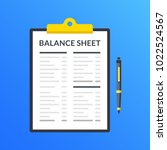 balance sheet. clipboard with... | Shutterstock .eps vector #1022524567