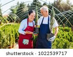 senior couple of gardeners...   Shutterstock . vector #1022539717