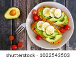 sweet potato toasts with... | Shutterstock . vector #1022543503