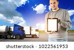 two big trucks on the highway | Shutterstock . vector #1022561953