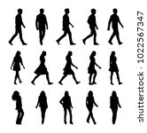 vector set of walking people... | Shutterstock .eps vector #1022567347