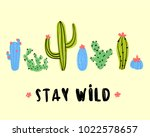 stay wild postcard design. set... | Shutterstock .eps vector #1022578657