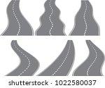set of six vector winding roads ... | Shutterstock .eps vector #1022580037