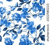 seamless pattern of roses... | Shutterstock . vector #1022580223