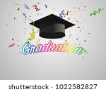 graduate caps and colorful... | Shutterstock .eps vector #1022582827