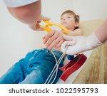 doctor with electrocardiogram...   Shutterstock . vector #1022595793